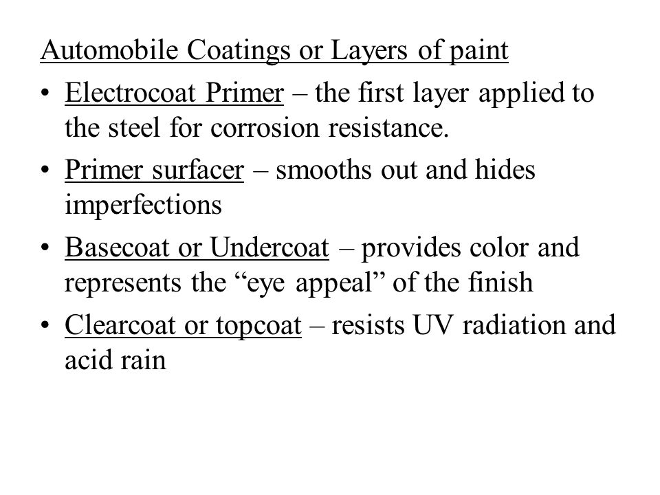 Automobile Coatings or Layers of paint Electrocoat Primer – the first layer applied to the steel for corrosion resistance.