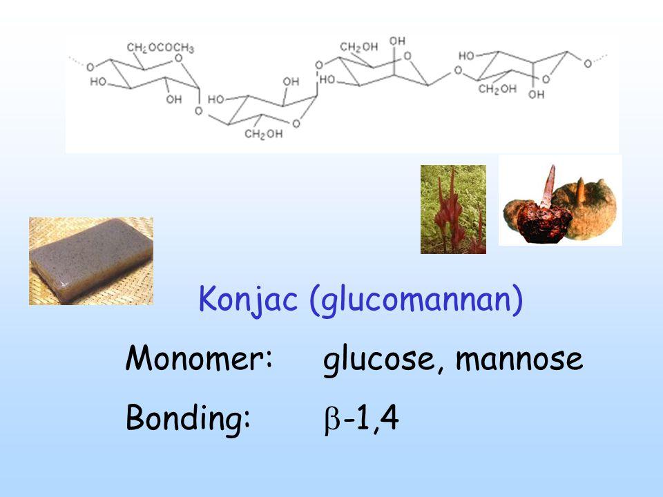 Konjac (glucomannan) Monomer: glucose, mannose Bonding:  -1,4