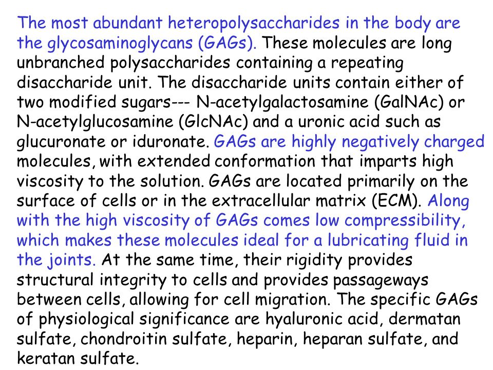 Characteristics of GAGs GAG LocalizationComments Hyaluronate synovial fluid, vitreous humor, ECM of loose connective tissue large polymers, shock absorbing Chondroitin sulfatecartilage, bone, heart valvesmost abundant GAG Heparan sulfate basement membranes, components of cell surfaces contains higher acetylated glucosamine than heparin Heparin component of intracellular granules of mast cells lining the arteries of the lungs, liver and skin more sulfated than heparan sulfates Dermatan sulfate skin, blood vessels, heart valves Keratan sulfate cornea, bone, cartilage aggregated with chondroitin sulfates Characteristics of GAGs