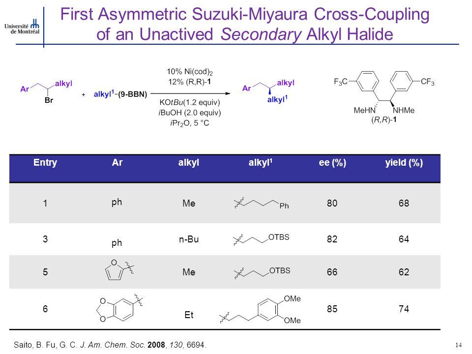 EntryAralkylalkyl 1 ee (%)yield (%) 1 ph Me8068 3 ph n-Bu8264 5Me6662 6 Et 8574 First Asymmetric Suzuki-Miyaura Cross-Coupling of an Unactived Seconda
