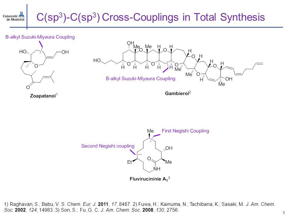 C(sp 3 )-C(sp 3 ) Cross-Couplings in Total Synthesis 3 1) Raghavan, S.; Babu, V. S. Chem. Eur. J. 2011, 17, 8487. 2) Fuwa, H.; Kainuma, N.; Tachibana,