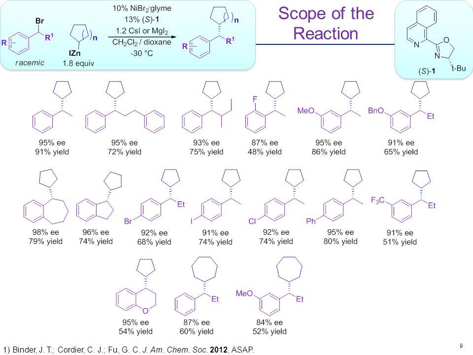 Scope of the Reaction 9 1) Binder, J. T.; Cordier, C. J.; Fu, G. C. J. Am. Chem. Soc. 2012, ASAP.