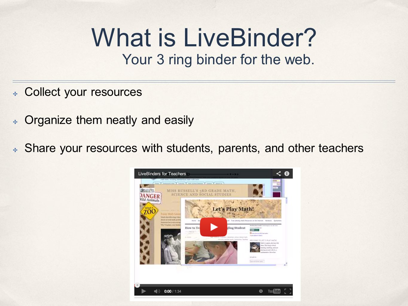 What is LiveBinder. Your 3 ring binder for the web.