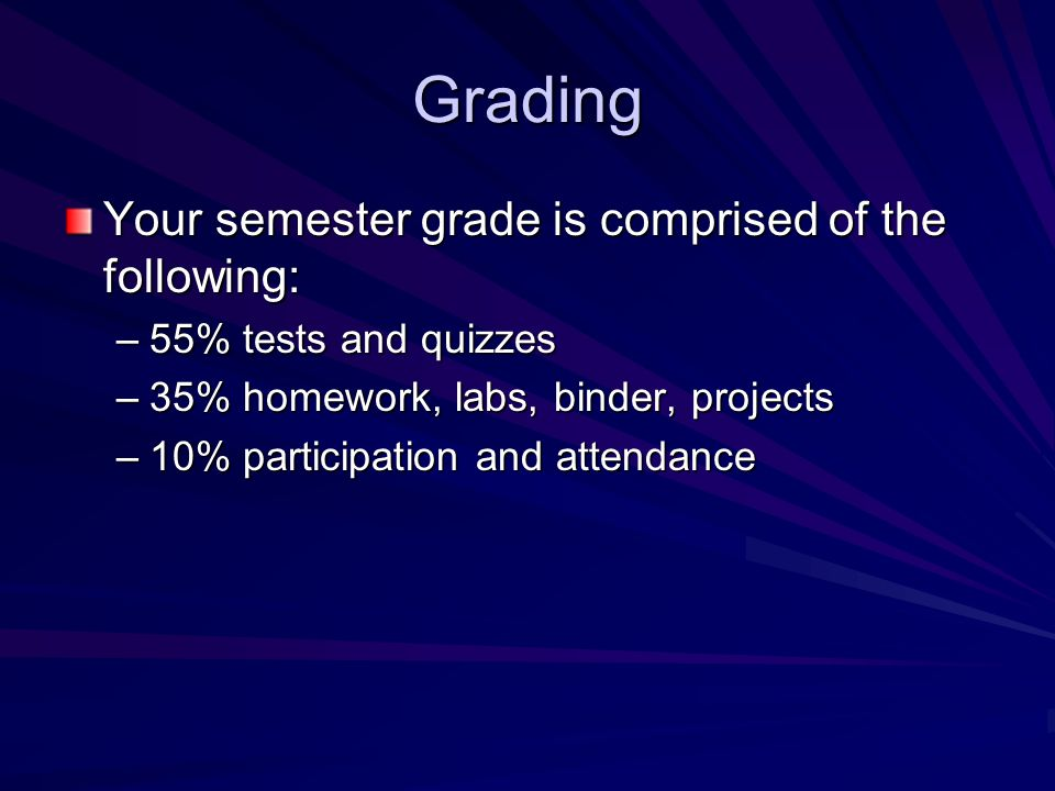 Grading Your semester grade is comprised of the following: –55% tests and quizzes –35% homework, labs, binder, projects –10% participation and attendance