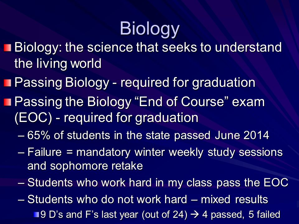 Course Outline First semester Nature of science, characteristics of lifeNature of science, characteristics of life Biochemistry, nature of matterBiochemistry, nature of matter Ecology, ecosystems, populations, env.