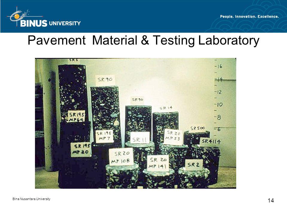 Bina Nusantara University 14 Pavement Material & Testing Laboratory