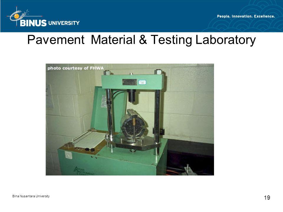 Bina Nusantara University 19 Pavement Material & Testing Laboratory