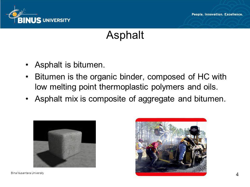 Bina Nusantara University 4 Asphalt Asphalt is bitumen.