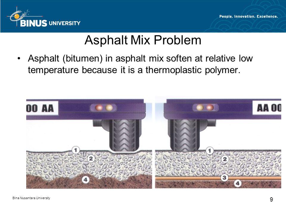 Bina Nusantara University 9 Asphalt Mix Problem Asphalt (bitumen) in asphalt mix soften at relative low temperature because it is a thermoplastic polymer.