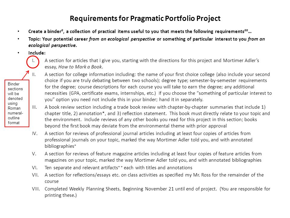 Requirements for Pragmatic Portfolio Project Create a binder #, a collection of practical items useful to you that meets the following requirements ## … Topic: Your potential career from an ecological perspective or something of particular interest to you from an ecological perspective.
