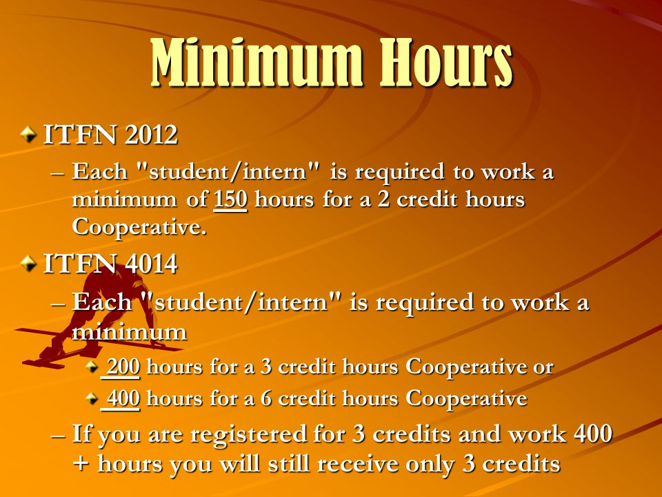 Minimum Hours ITFN 2012 –Each student/intern is required to work a minimum of 150 hours for a 2 credit hours Cooperative.