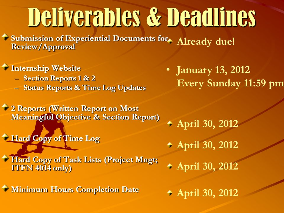 Deliverables & Deadlines Submission of Experiential Documents for Review/Approval Internship Website –Section Reports 1 & 2 –Status Reports & Time Log Updates 2 Reports (Written Report on Most Meaningful Objective & Section Report) Hard Copy of Time Log Hard Copy of Task Lists (Project Mngt; ITFN 4014 only) Minimum Hours Completion Date Already due.
