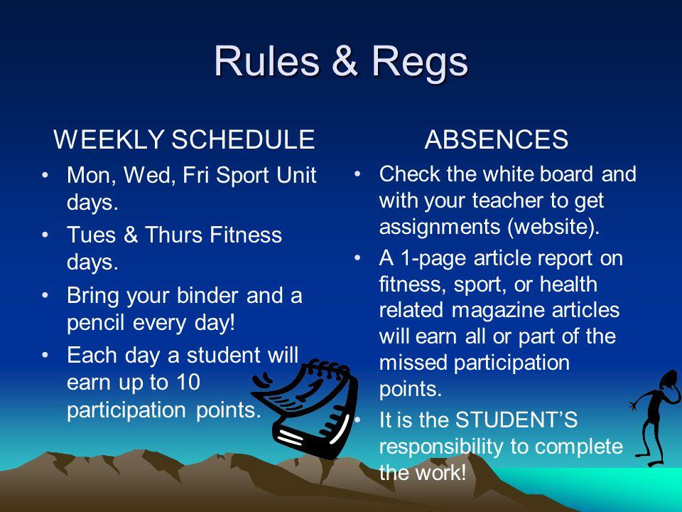 Rules & Regs WEEKLY SCHEDULE Mon, Wed, Fri Sport Unit days.