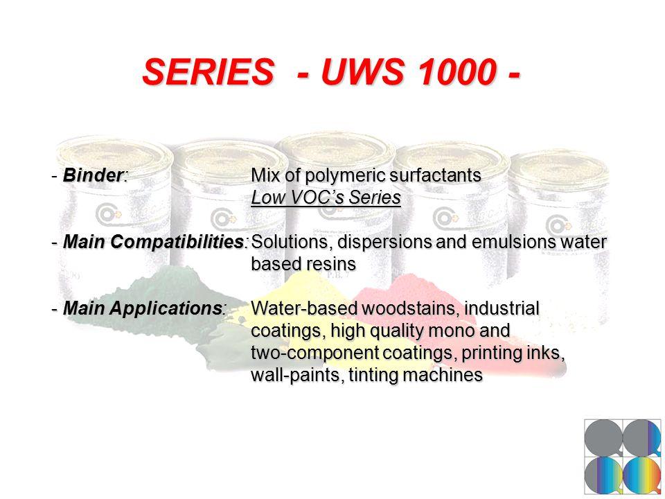 SERIES - UWS 1000 - -Binder:Mix of polymeric surfactants - Binder:Mix of polymeric surfactants Low VOC's Series - Main Compatibilities:Solutions, disp