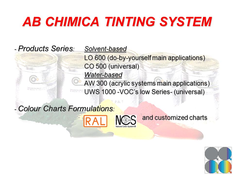 AB CHIMICA TINTING SYSTEM - Products Series : Solvent-based LO 600 (do-by-yourself main applications) CO 500 (universal) Water-based AW 300 (acrylic s