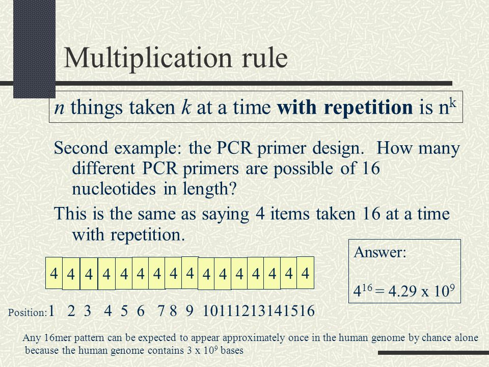 Multiplication rule Second example: the PCR primer design.