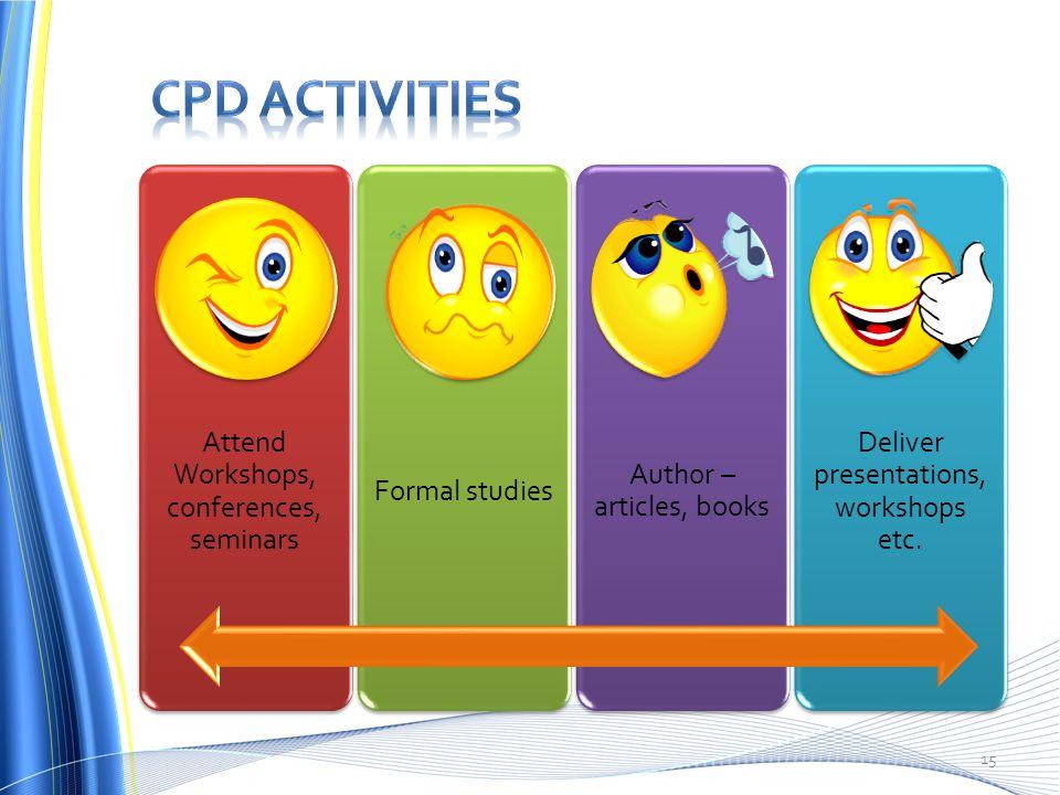 Attend Workshops, conferences, seminars Formal studies Author – articles, books Deliver presentations, workshops etc.