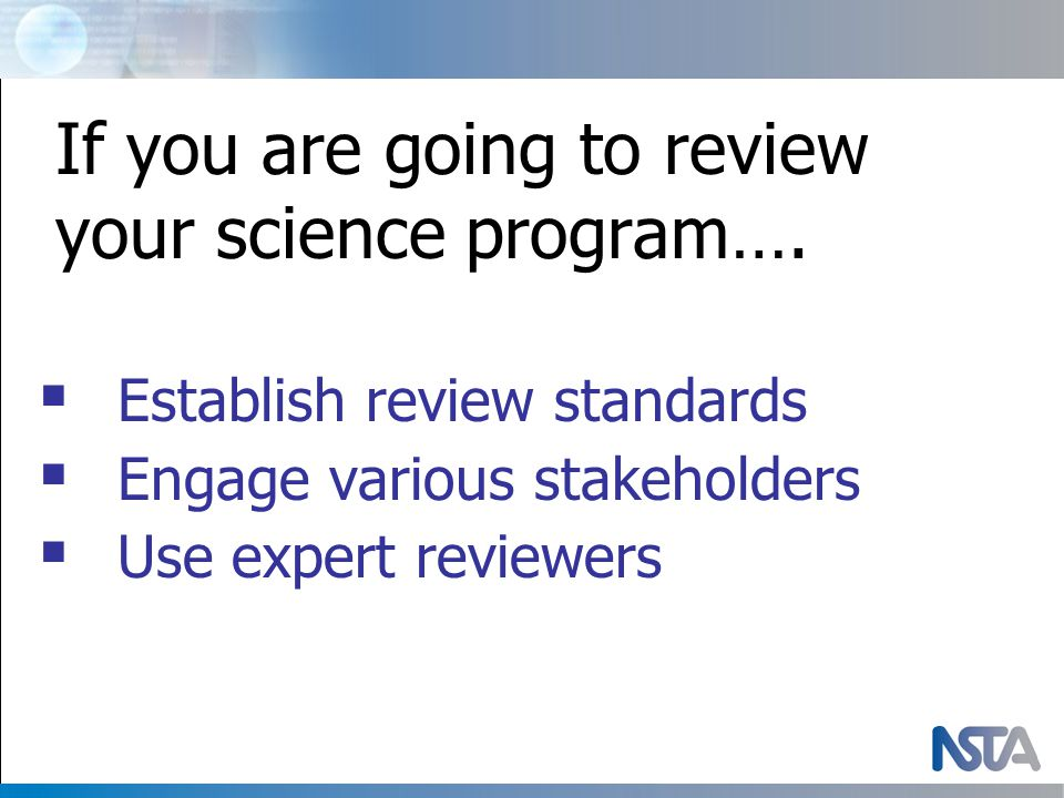 If you are going to review your science program….