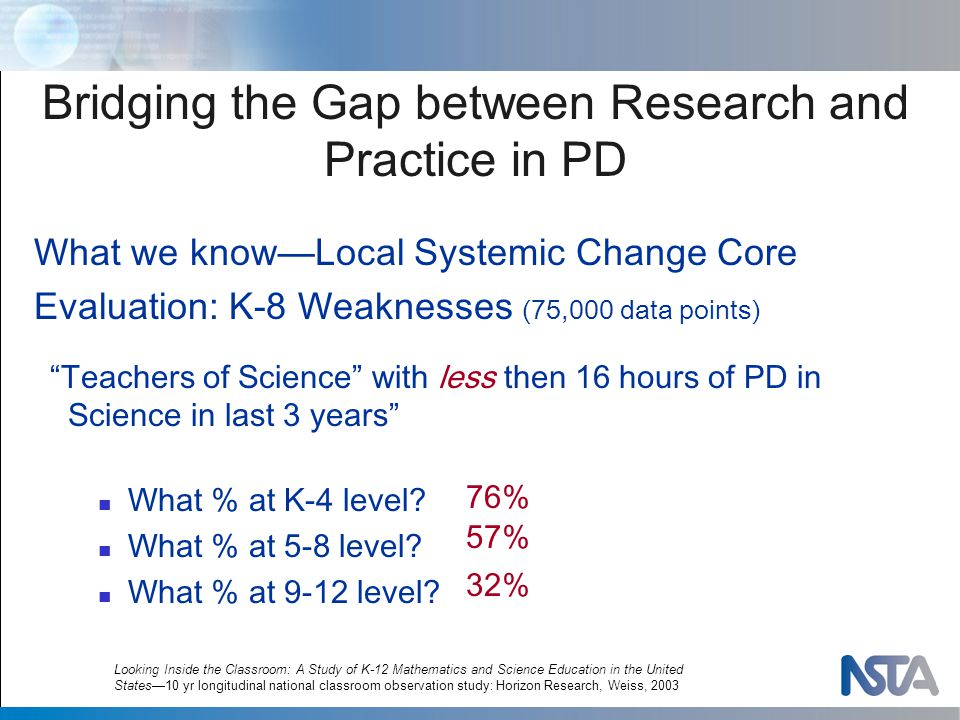 What we know—Local Systemic Change Core Evaluation: K-8 Weaknesses (75,000 data points) Teachers of Science with less then 16 hours of PD in Science in last 3 years What % at K-4 level.