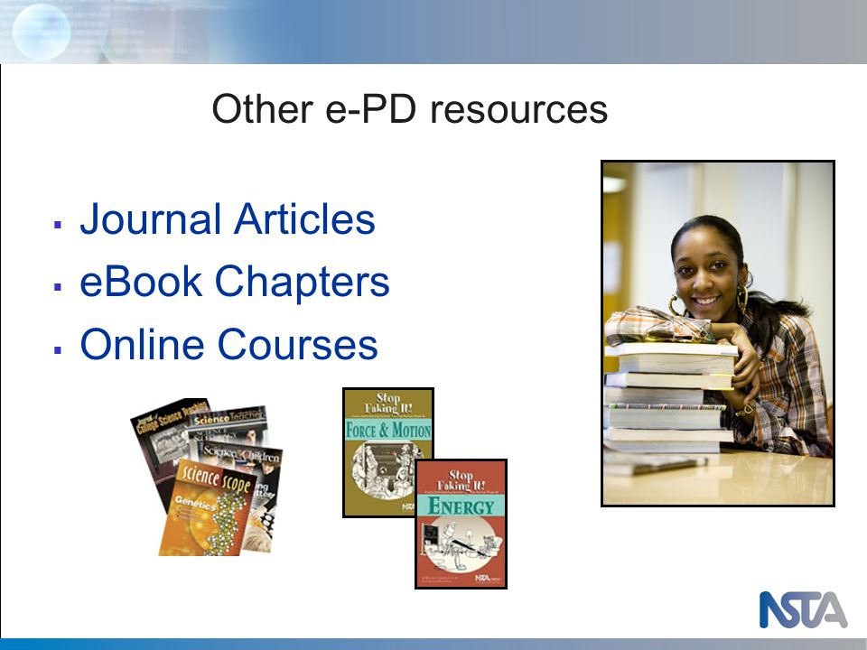 Other e-PD resources  Journal Articles  eBook Chapters  Online Courses