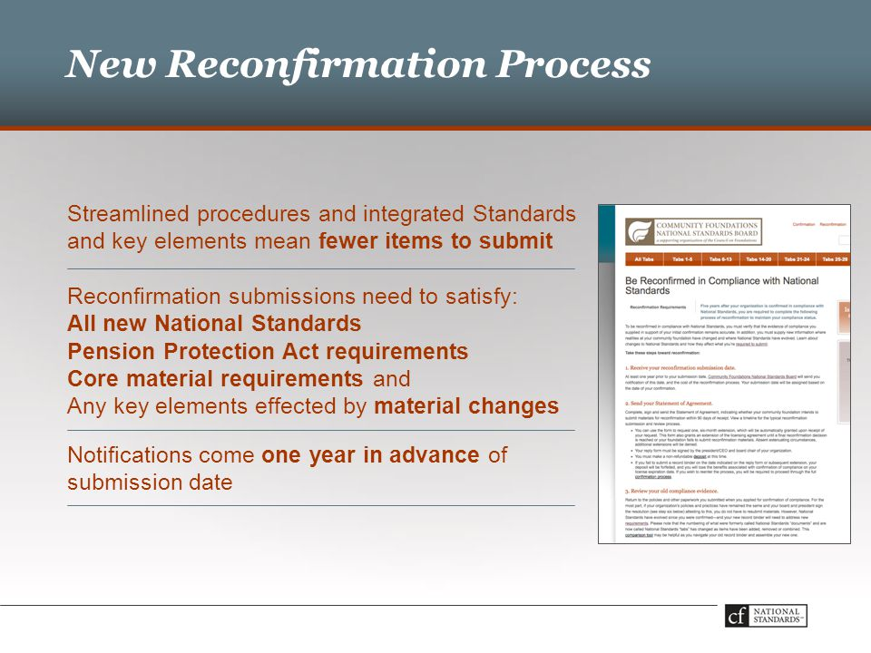 New Reconfirmation Process Streamlined procedures and integrated Standards and key elements mean fewer items to submit Reconfirmation submissions need to satisfy: All new National Standards Pension Protection Act requirements Core material requirements and Any key elements effected by material changes Notifications come one year in advance of submission date