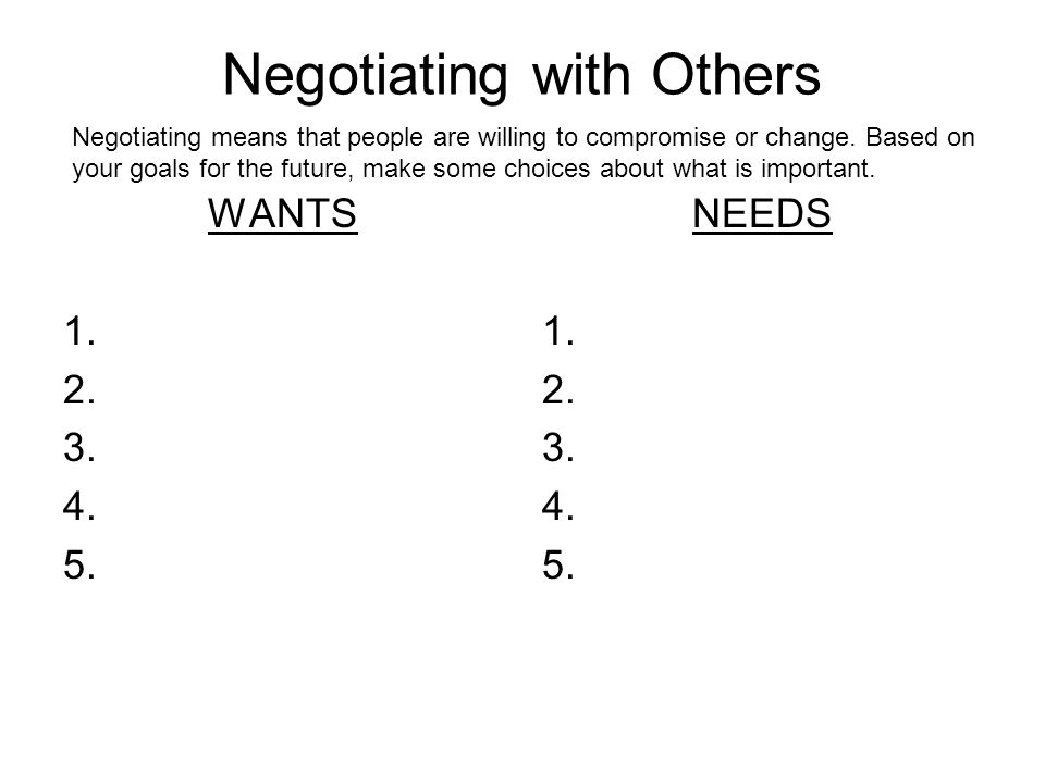 Negotiating with Others WANTS 1. 2. 3. 4. 5. NEEDS 1.