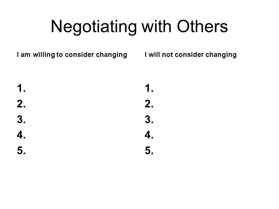 Negotiating with Others I am willing to consider changing 1.