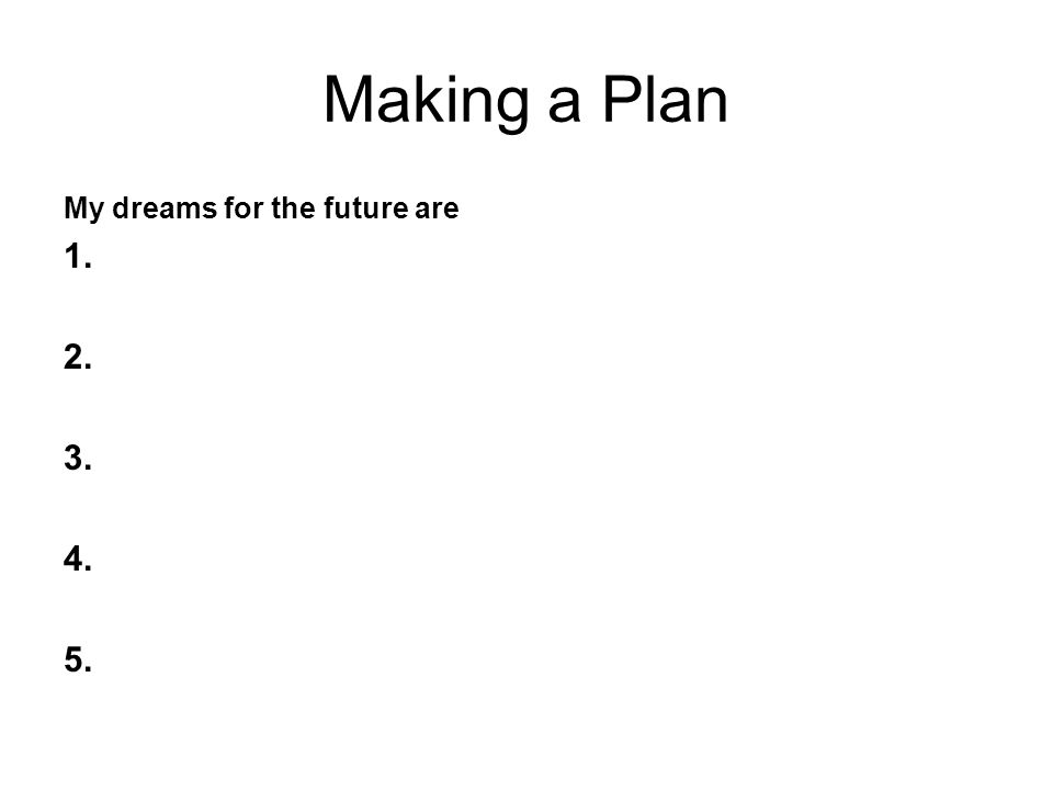 Making a Plan My dreams for the future are 1. 2. 3. 4. 5.