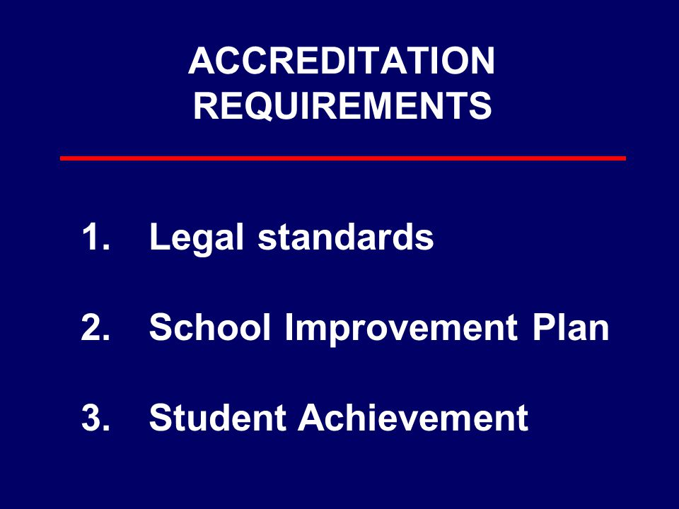 ACCREDITATION REQUIREMENTS 1.Legal standards 2.School Improvement Plan 3.Student Achievement