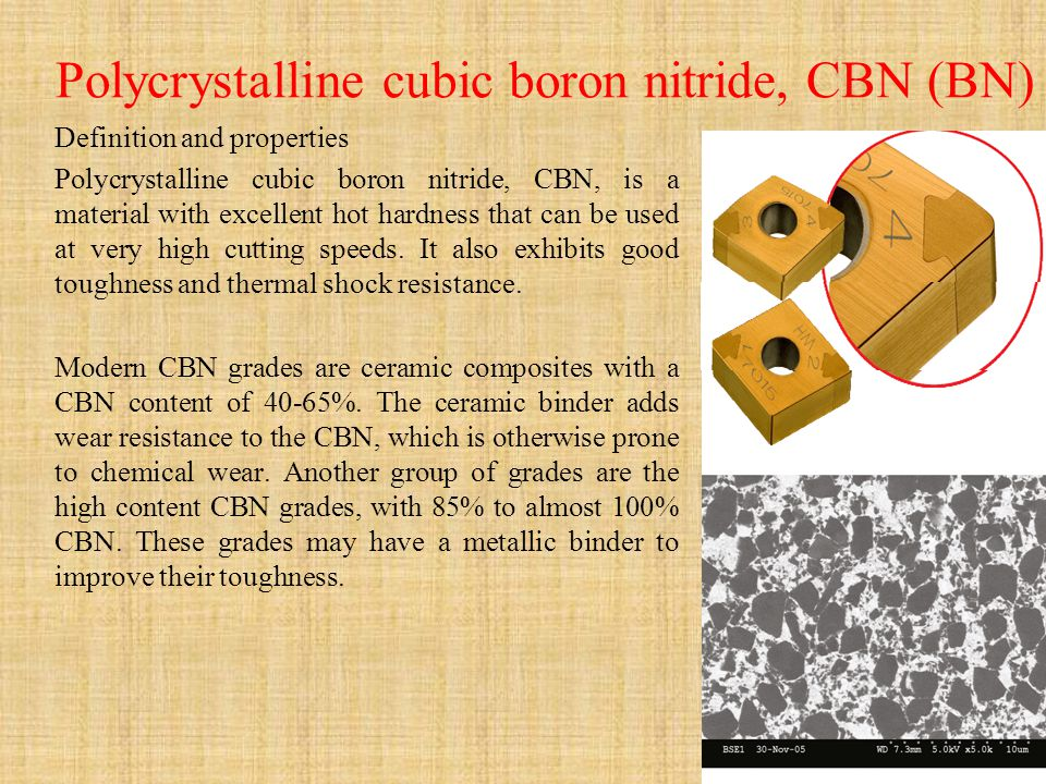 Polycrystalline cubic boron nitride, CBN (BN) Definition and properties Polycrystalline cubic boron nitride, CBN, is a material with excellent hot har
