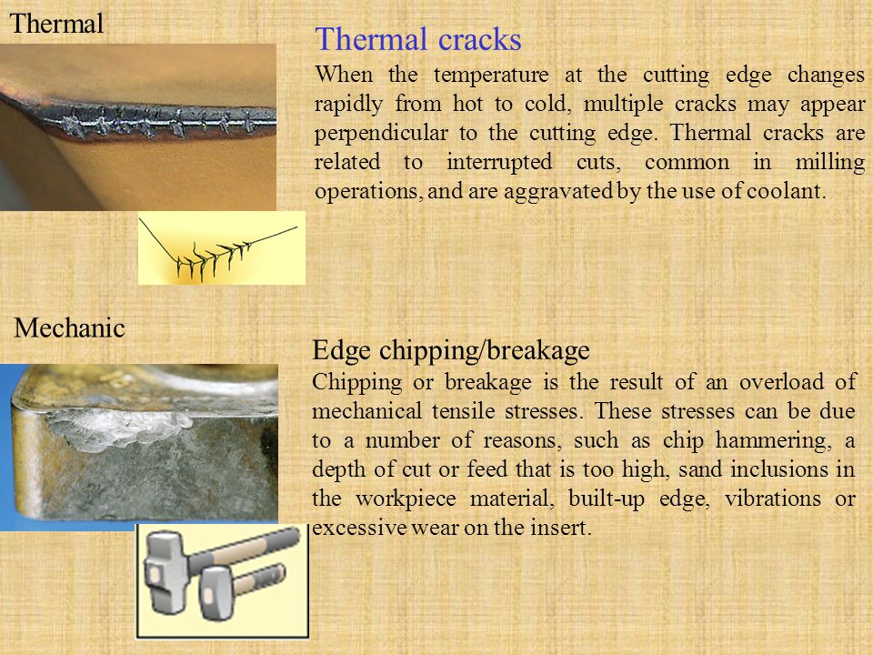 Thermal Thermal cracks When the temperature at the cutting edge changes rapidly from hot to cold, multiple cracks may appear perpendicular to the cutt