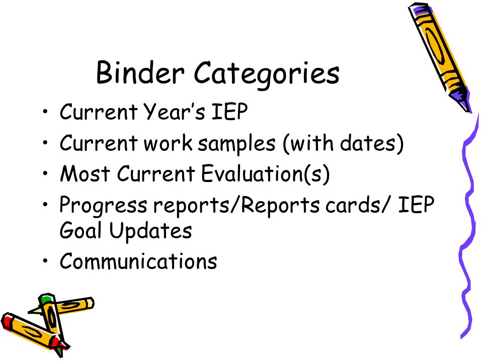 Binder Categories Current Year's IEP Current work samples (with dates) Most Current Evaluation(s) Progress reports/Reports cards/ IEP Goal Updates Communications