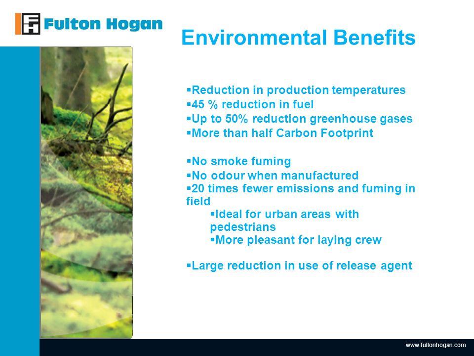 www.fultonhogan.com Insert Picture here. Environmental Benefits Standard Hotmix