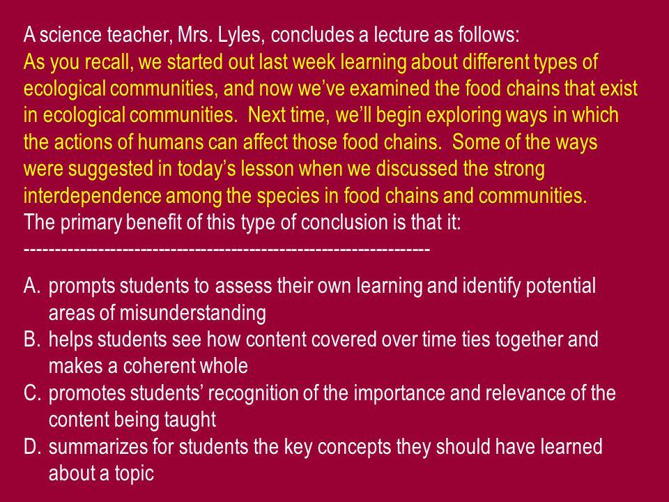 A science teacher, Mrs.