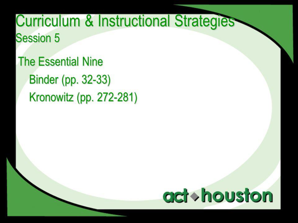 The Essential Nine Binder (pp. 32-33) Kronowitz (pp.