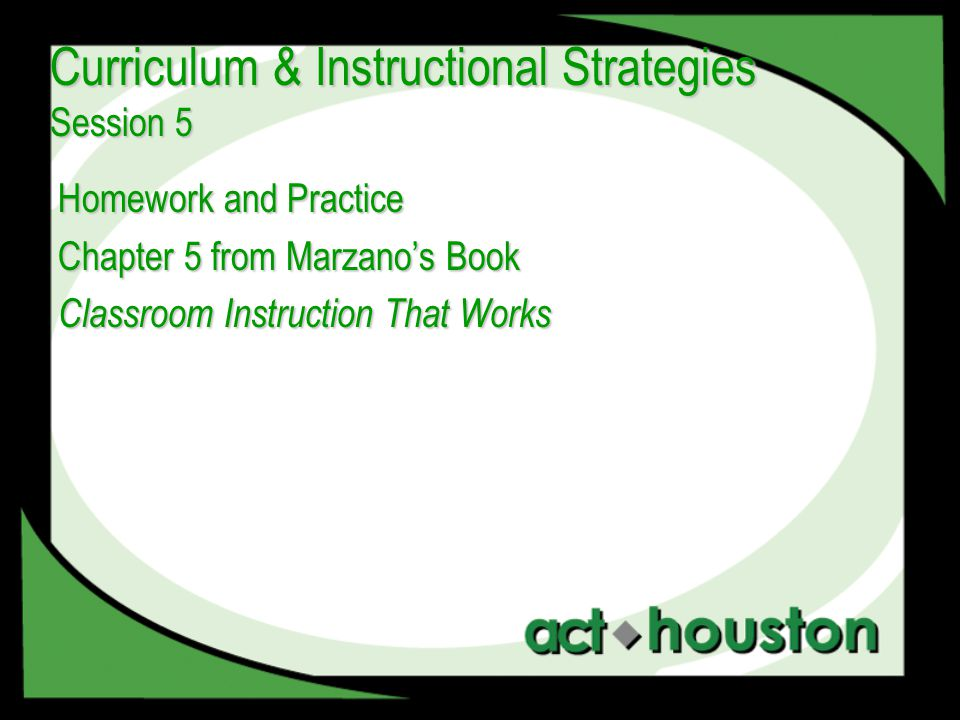 Homework and Practice Chapter 5 from Marzano's Book Classroom Instruction That Works Curriculum & Instructional Strategies Session 5