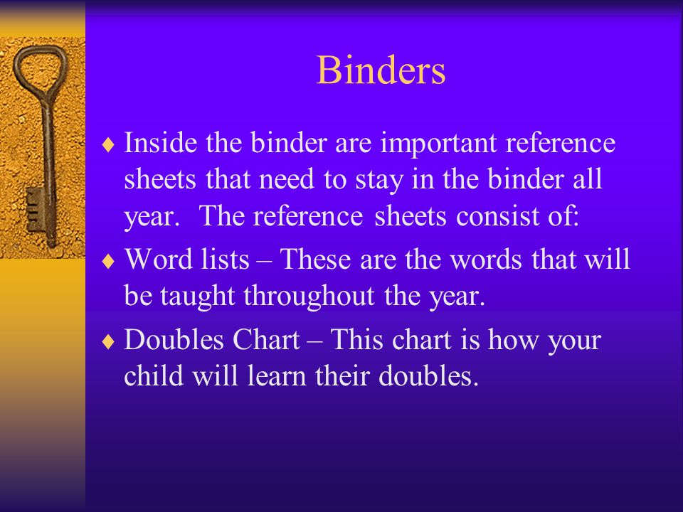 Binders  Inside the binder are important reference sheets that need to stay in the binder all year. The reference sheets consist of:  Word lists – T