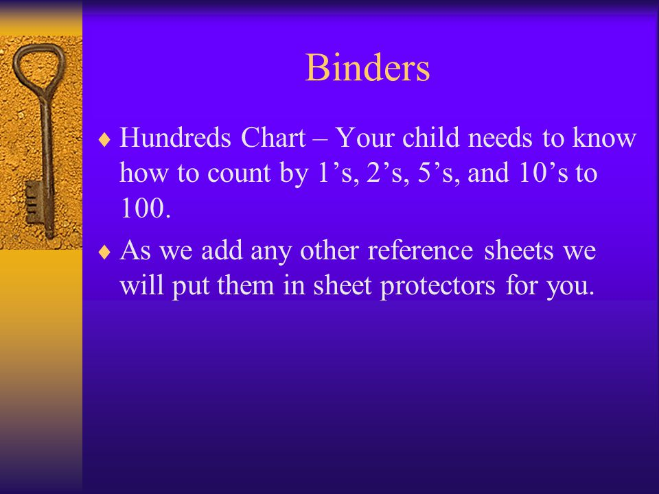 Binders  Hundreds Chart – Your child needs to know how to count by 1's, 2's, 5's, and 10's to 100.  As we add any other reference sheets we will put