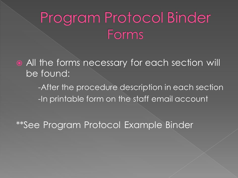  All the forms necessary for each section will be found: -After the procedure description in each section -In printable form on the staff email account **See Program Protocol Example Binder