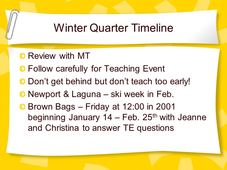 Winter Quarter Timeline Review with MT Follow carefully for Teaching Event Don't get behind but don't teach too early.