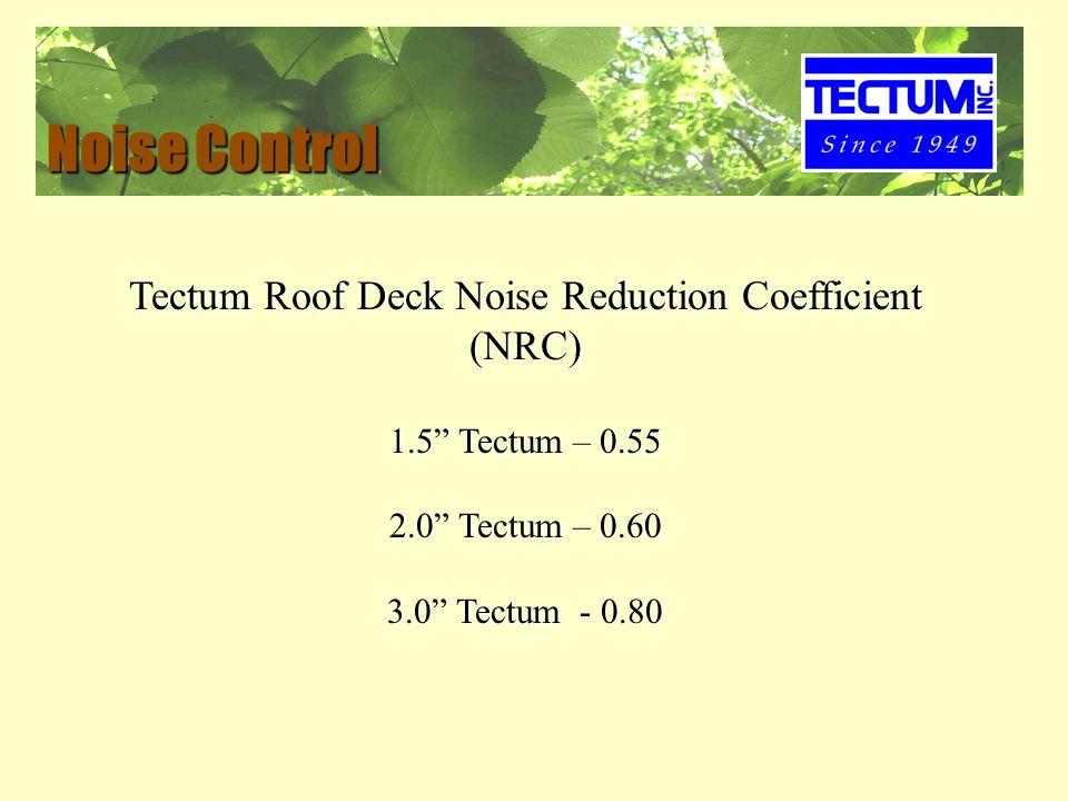 Noise Control Tectum Roof Deck Noise Reduction Coefficient (NRC) 1.5 Tectum – 0.55 2.0 Tectum – 0.60 3.0 Tectum - 0.80