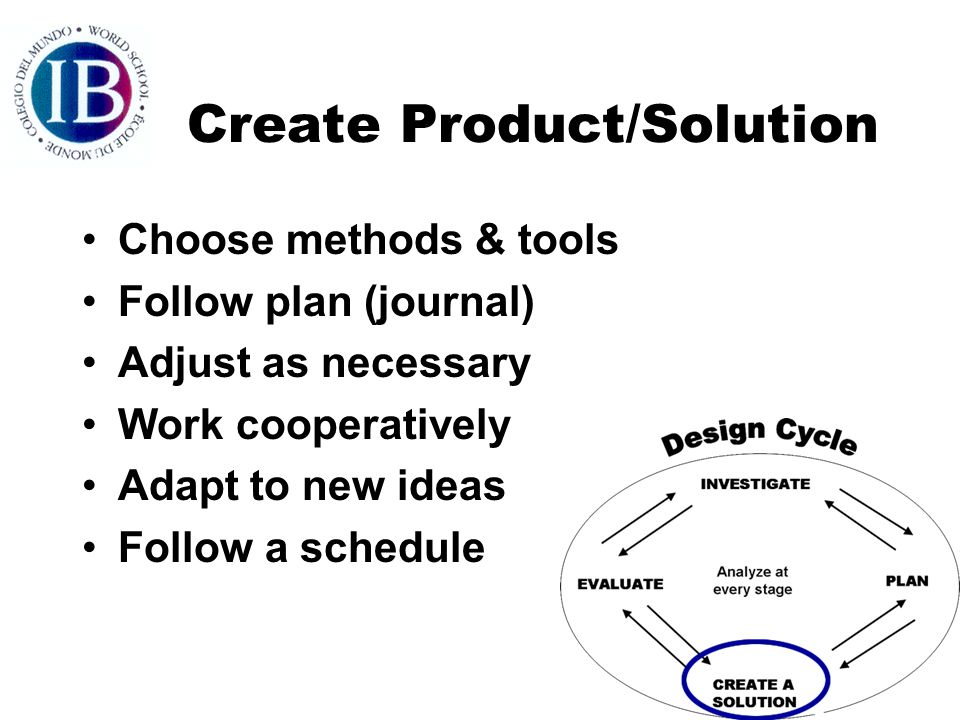 Create Product/Solution Choose methods & tools Follow plan (journal) Adjust as necessary Work cooperatively Adapt to new ideas Follow a schedule