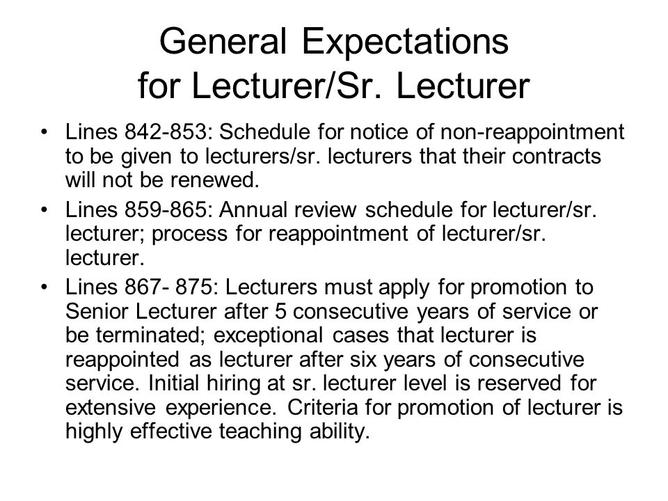General Expectations for Lecturer/Sr.