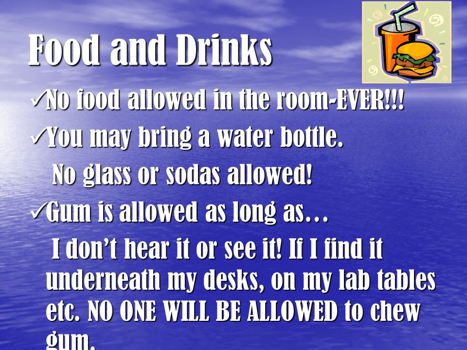 Food and Drinks No food allowed in the room-EVER!!.