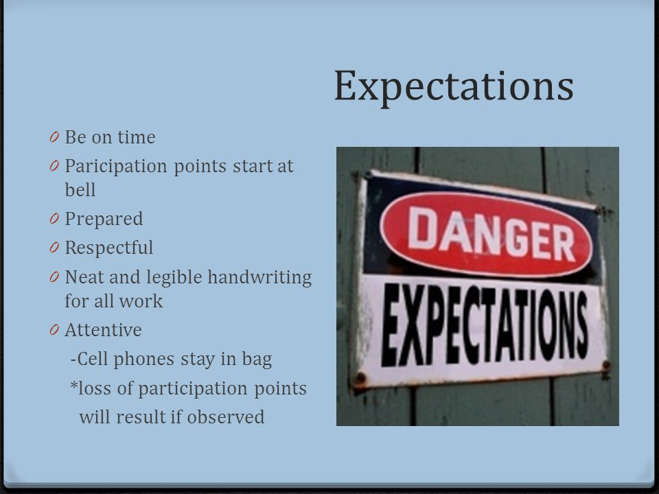 Expectations 0 Be on time 0 Paricipation points start at bell 0 Prepared 0 Respectful 0 Neat and legible handwriting for all work 0 Attentive -Cell phones stay in bag *loss of participation points will result if observed