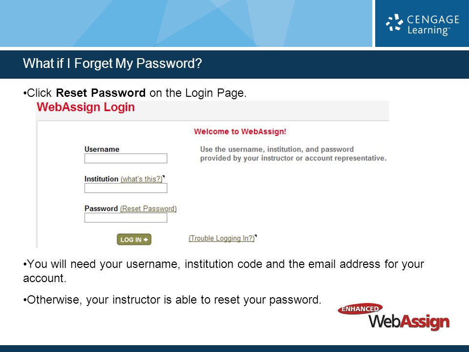 Click Reset Password on the Login Page.
