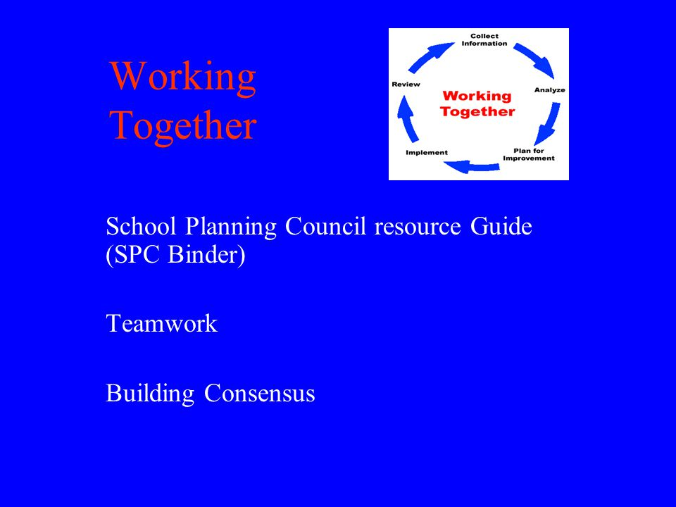 Working Together School Planning Council resource Guide (SPC Binder) Teamwork Building Consensus