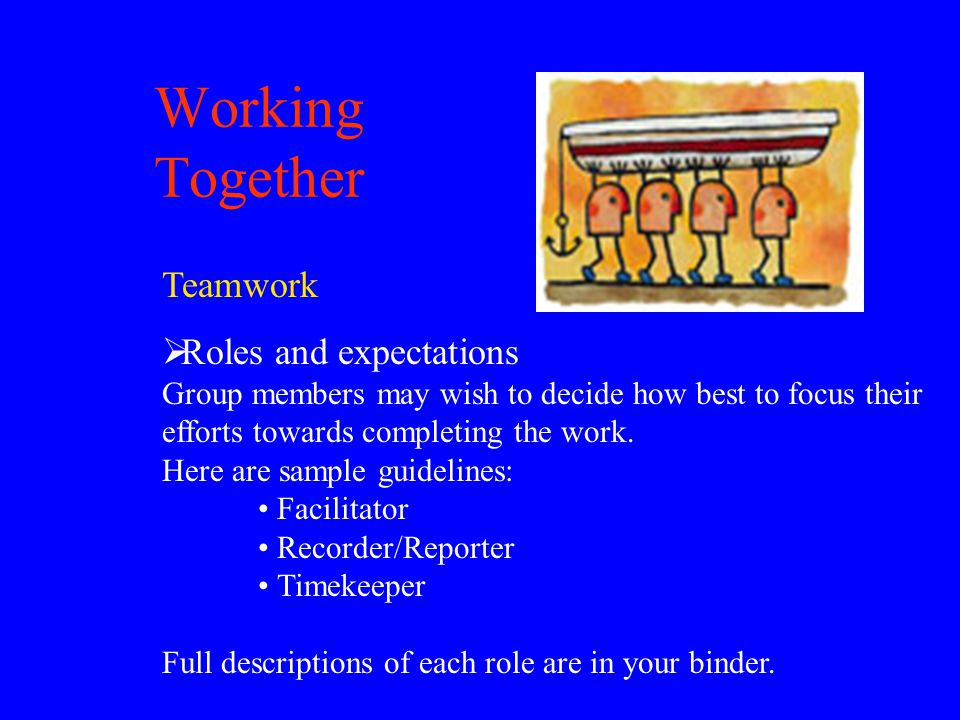 Working Together Teamwork  Roles and expectations Group members may wish to decide how best to focus their efforts towards completing the work.
