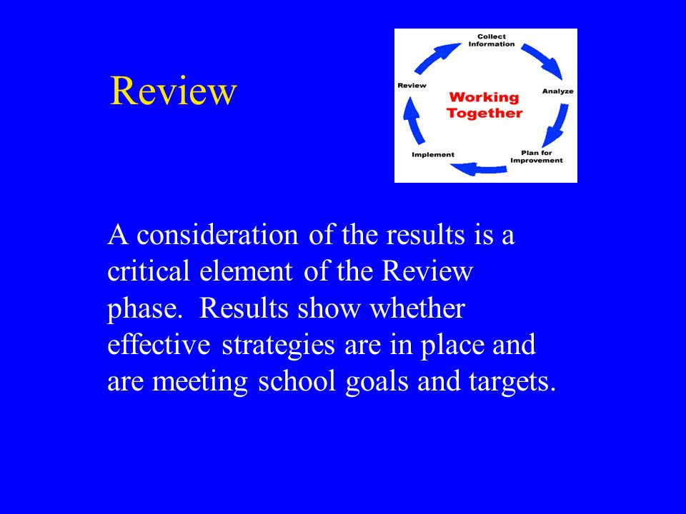 Review A consideration of the results is a critical element of the Review phase.