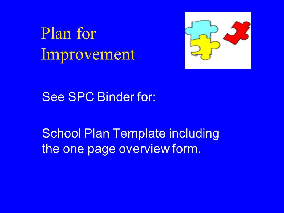 Plan for Improvement See SPC Binder for: School Plan Template including the one page overview form.